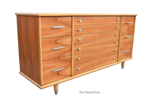 Mid-Century Modern Oak Figured Tiger Flame Wood Dresser