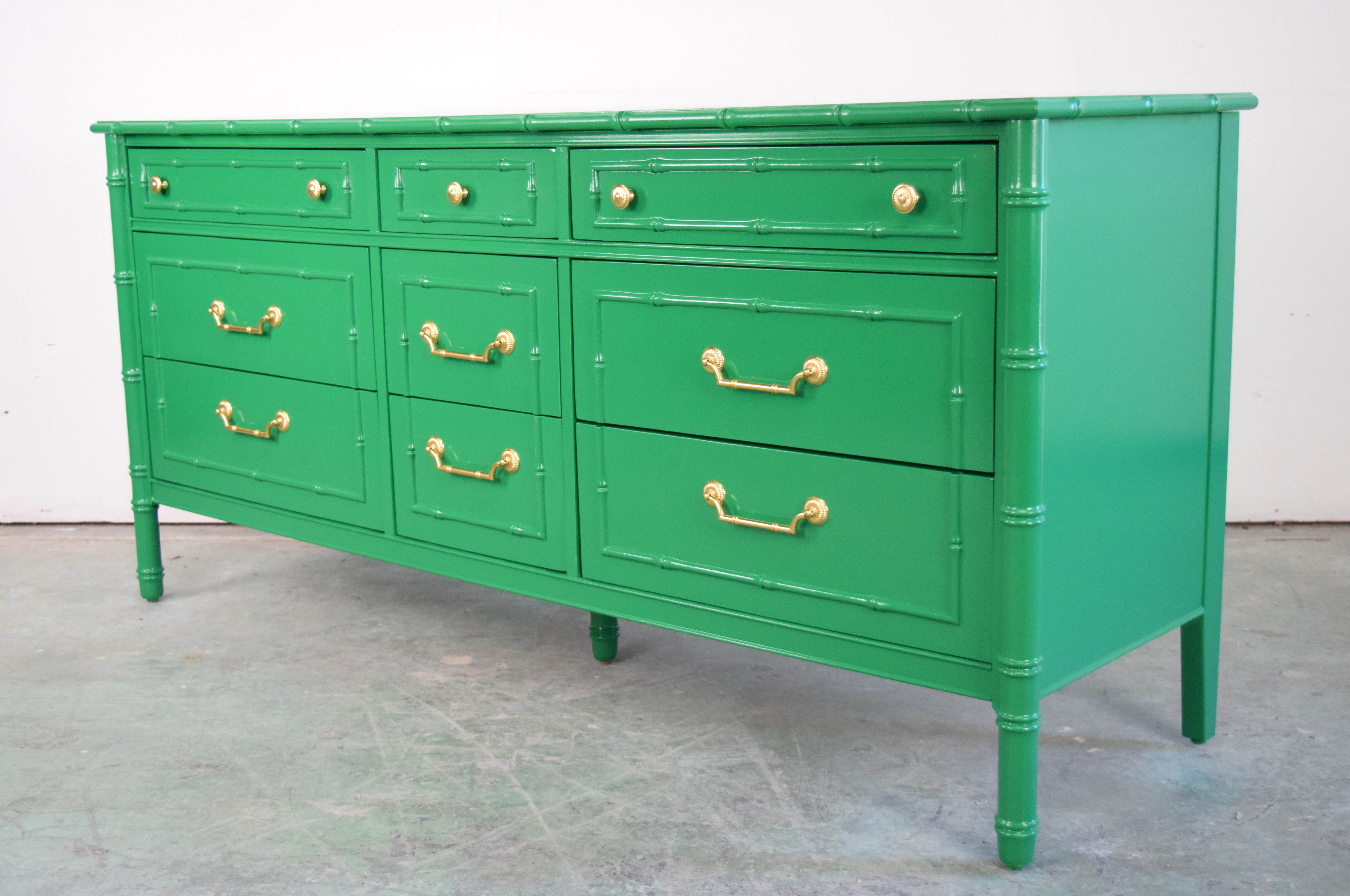 Green lacquer faux bamboo dresser
