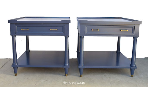 Italian Style Navy Blue Nightstands – A Pair