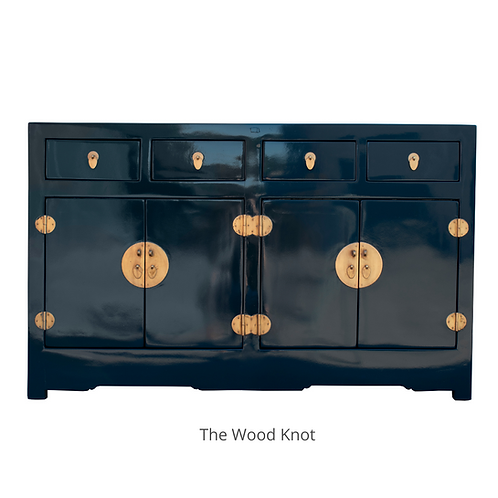 Asian Ming Style High Gloss Blue Sideboard