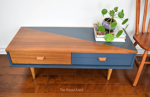 Mid Century Modern refinished teak TV stand, coffee table in blue and dark walnut