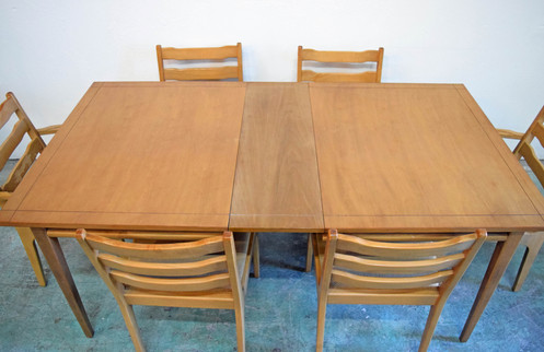 Circa 1960 Basic Witz Furniture Company Midcentury Dining Table With Three Extensions Two Armchairs And Four Side Chairs Sold As Is It Has Some Light