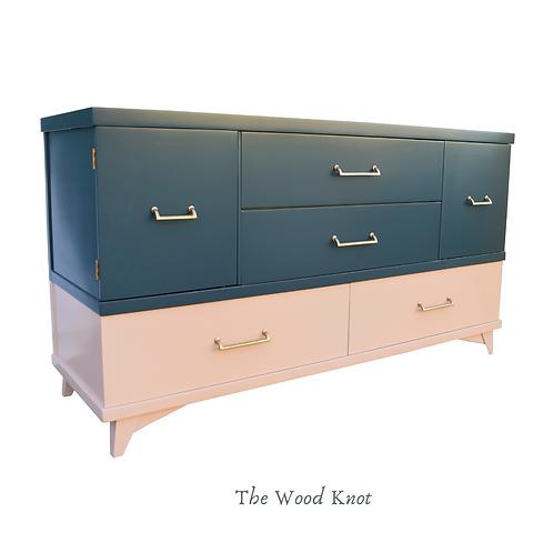 Mid Century Modern Blue and Pink Dresser – Sideboard