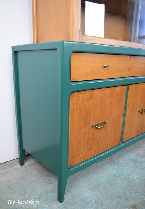 This Mid Century Modern China Cabinet Was Refinished In Gloss Green Lacquer  And Wood Stain. Original Handles. The Top Hutch Comes Off.