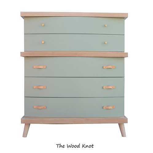Mid Century Modern White and Green Mint Highboy Dresser