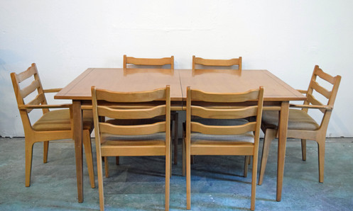 Circa 1960 Mid Century Dining Table With Six Chairs
