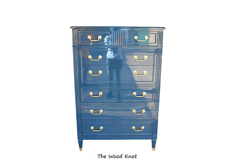 High Gloss Blue and gold highboy dresser