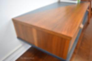 Mid Century Modern blue and dark walnut dresser