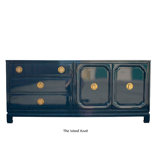 Ming Style High Gloss Blue Credenza