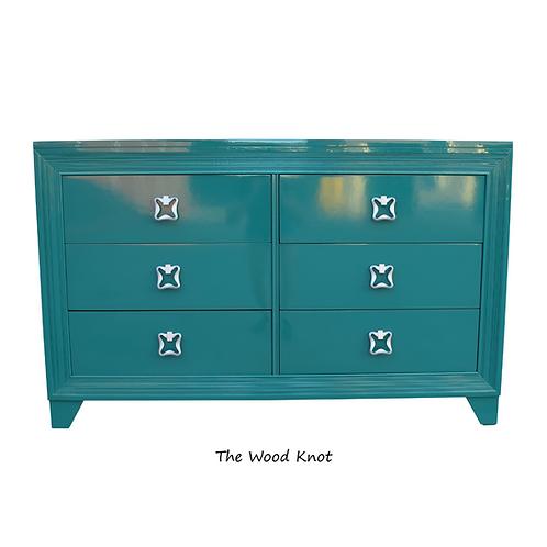Green and Silver High Gloss Modern Dresser