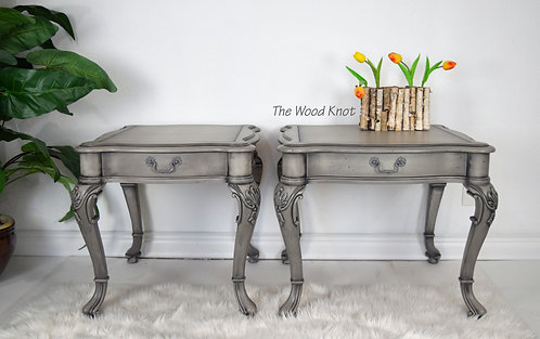 Gray Walnut Side Tables – A Pair
