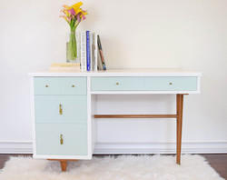Mid Century white and green mint desk with gold, brass original handles