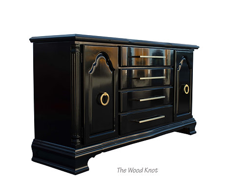 Lexington Sideboard High Gloss Black and Gold Credenza