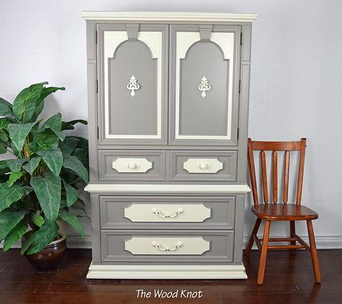Thomasville Gray And Off White Highboy Dresser