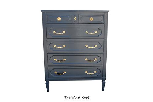 Dark Night Blue Highboy Dresser