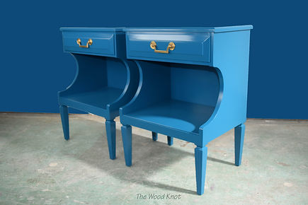 Blue lacquer side tables and brass handles