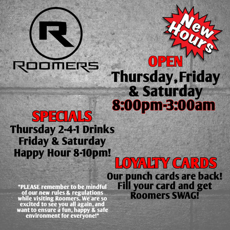 Roomers Hours Flyer
