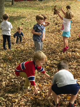 children collecting leaves in the fall