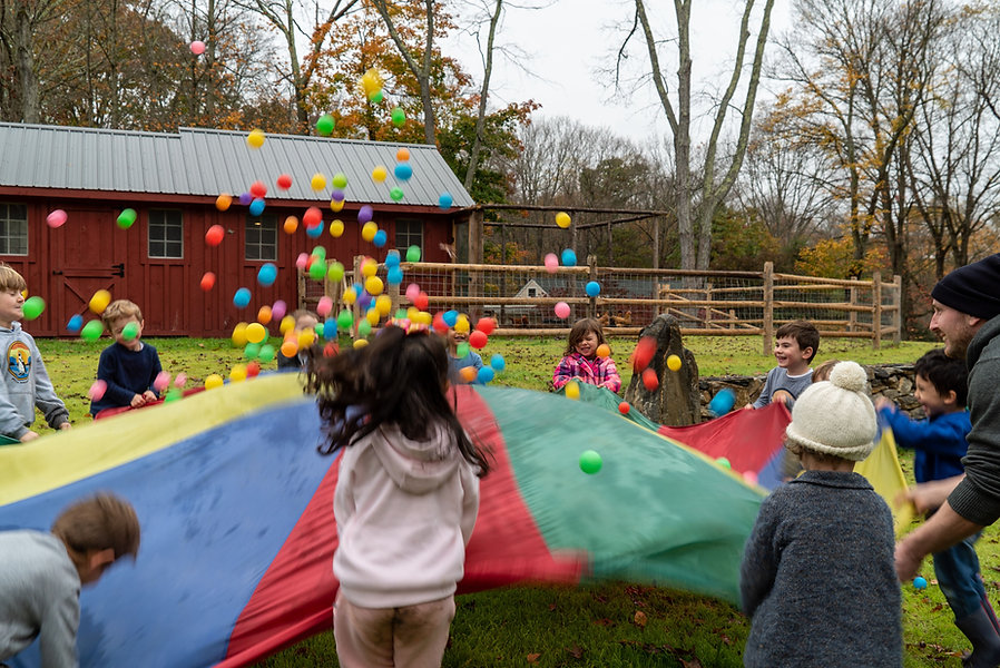 children playing with parachute and balls
