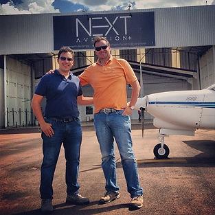 Pedro Bizzott e Algemiro Liston Jr, dia da inauguração da NEXT Aviation
