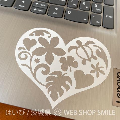nc-smile ハワイアン ハート ステッカー heart 100mm (ホワイト)