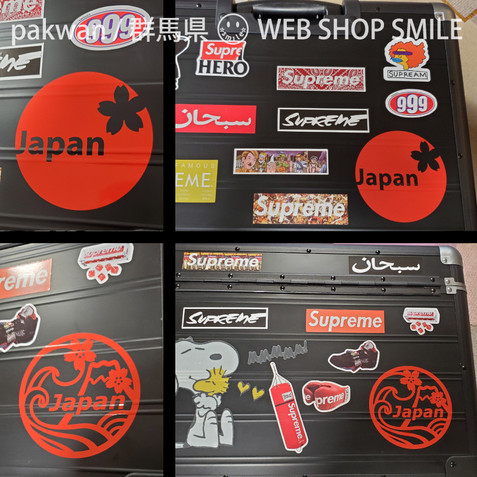 nc-smile Japan 日本 桜 富士山 波 ジャパン ステッカー 2種類 セット 直径70ミリ (2枚セット 赤)