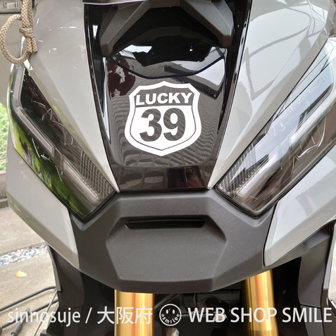 c-smile 数字 ステッカー タイプA ホワイト Sサイズ ラッキーナンバー ゼッケン 背番号 (数字 39)