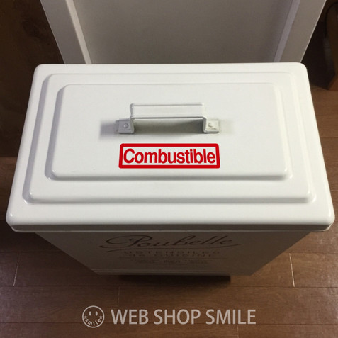 nc-smile ゴミ箱用 分別 シール ステッカー 英字 角ゴシック Combustible 可燃ごみ 燃えるごみ (レッド)