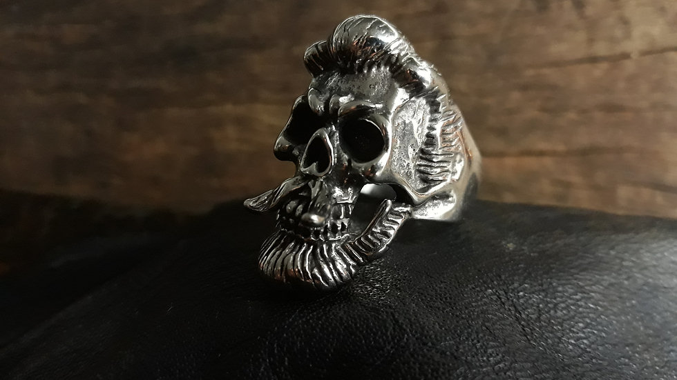Anel Inox Skull Mustashe