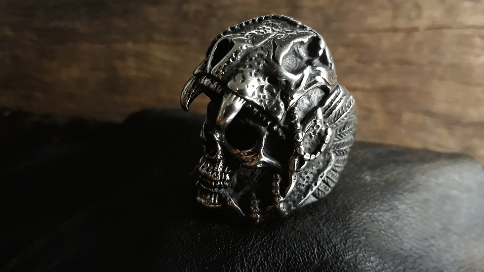 Anel Inox Indian Skull