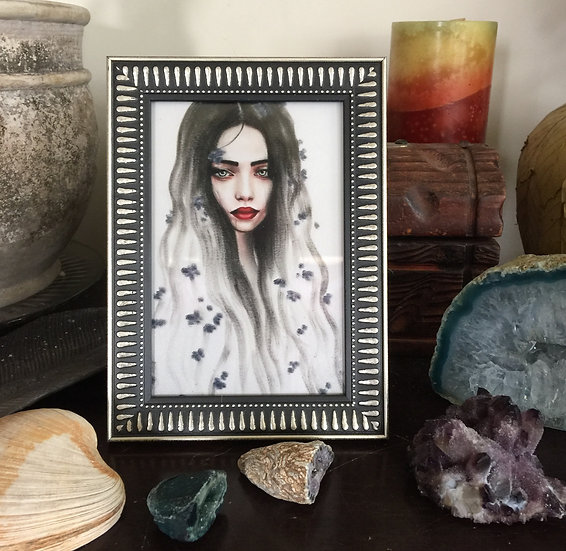 """Haunted"" 4x6in framed print"