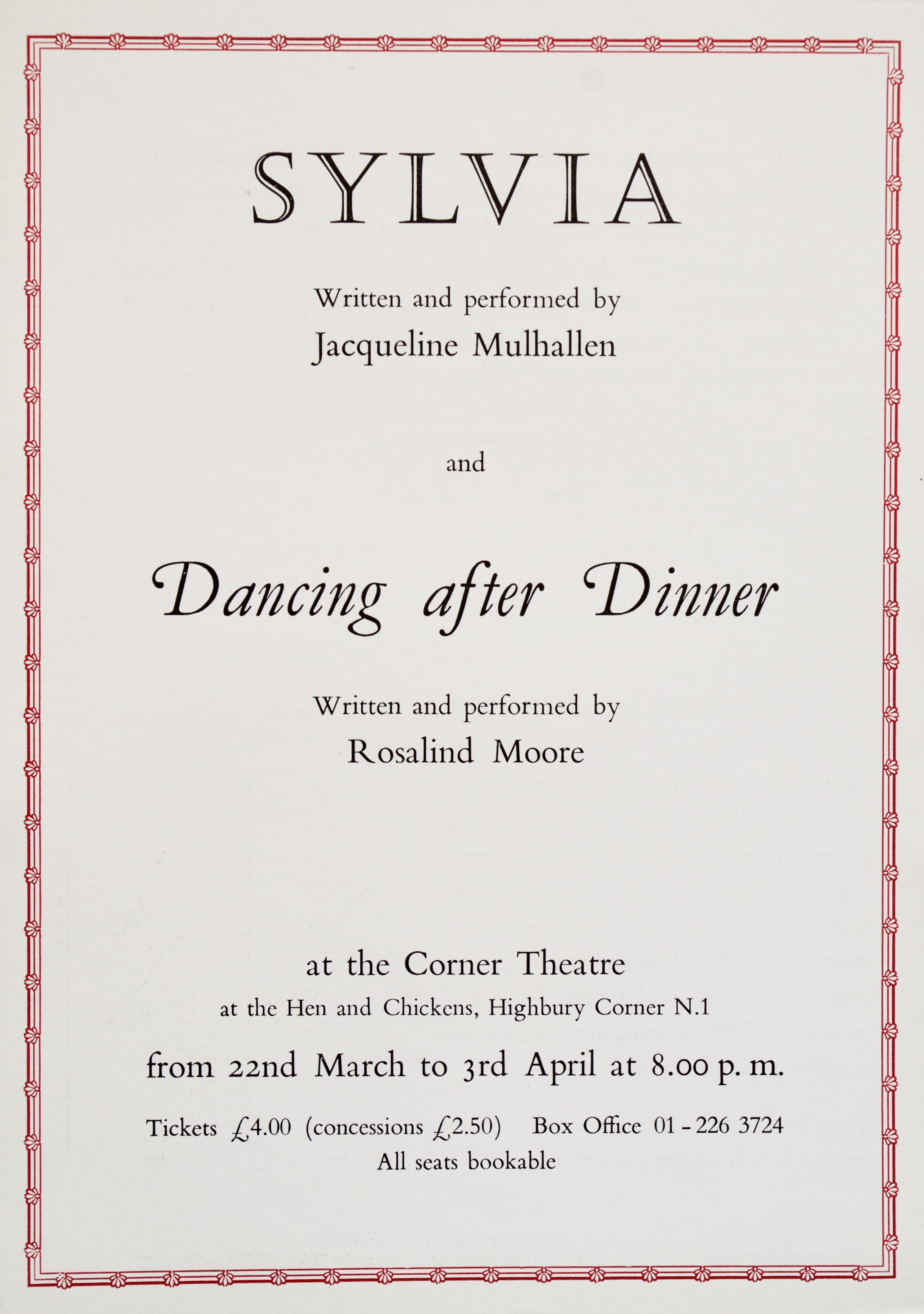 Sylvia leaflet 1988 (front)