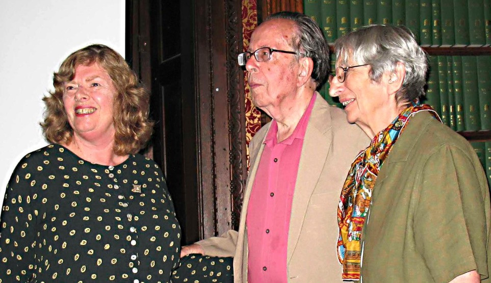 Jacqueline Mulhallen with Richard and Rita Pankhurst in 2009