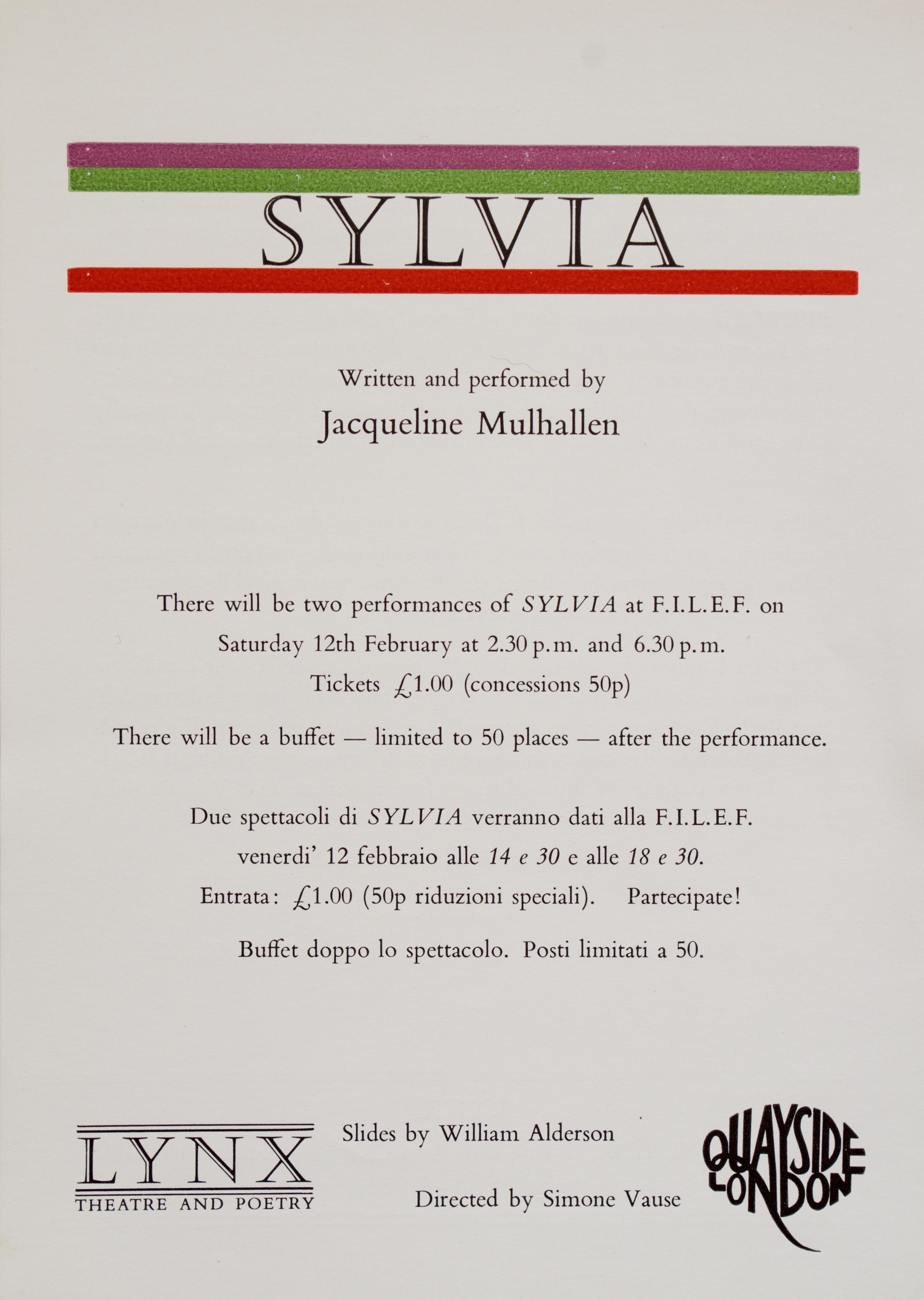 Sylvia leaflet 1988