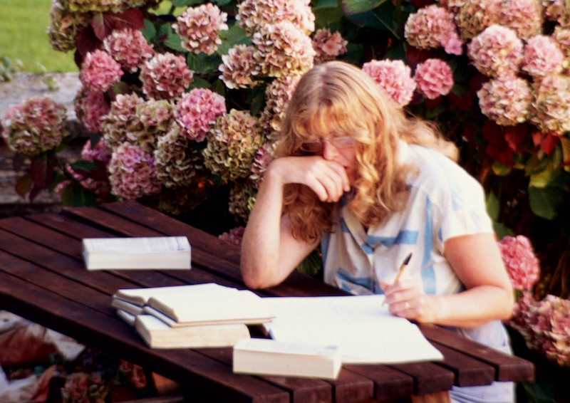 Jacqueline Mulhallen writing Shadow of the Soul in 1991. Photograph © William Alderson