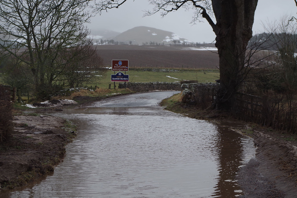 Photo of flooding from melted snow at the Scottish border. © William Alderson