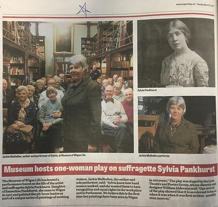 Cutting from Wigan Today about SYLVIA at the Museum of Wigan Life.