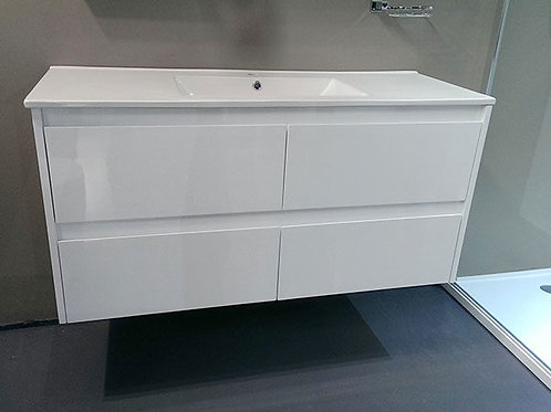 1200 WHITE WALL HUNG VANITY WITH CERAMIC TOP