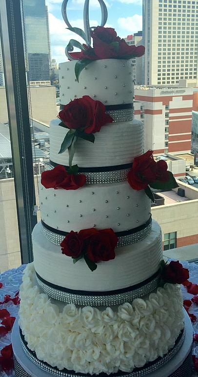 Kelly\'s Cakes Atlanta | Silver, black, and red Wedding Cake