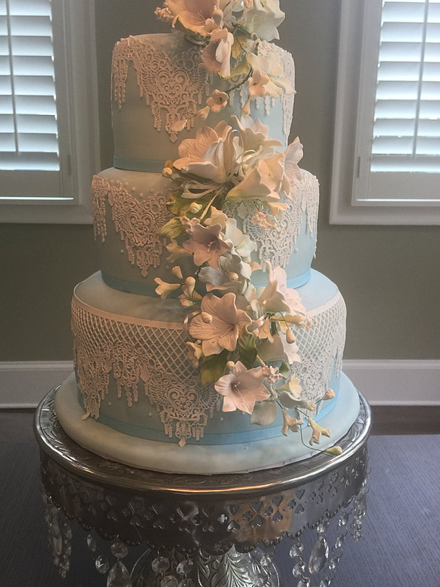 Light Blue Lace And Floral Cake