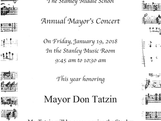 The Mayor's Concert, Friday, January 19 @ Stanley Music ! (9:45am to 10:30am)