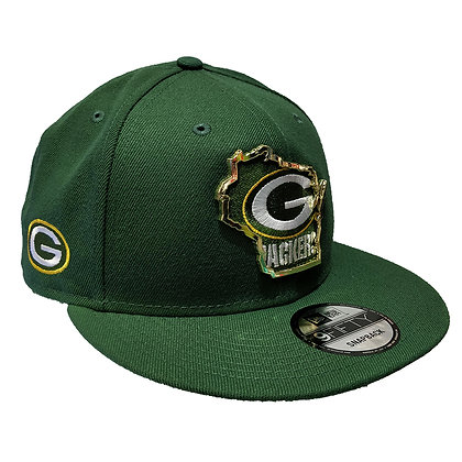 Men's Green Bay Packers New Era State Metal Framed 9FIFTY Green Snapback