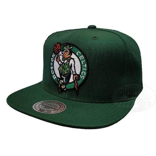 26844213 Men's Boston Celtics Wool Solid Full Logo Mitchell & Ness Green Snapback