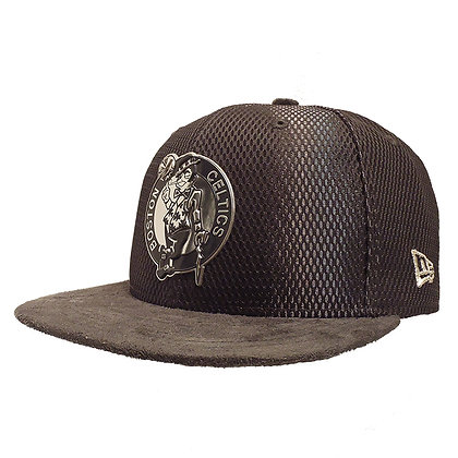Men's Boston Celtics New Era ONC Silver on Grey Suede 59FIFTY Fitted Ha