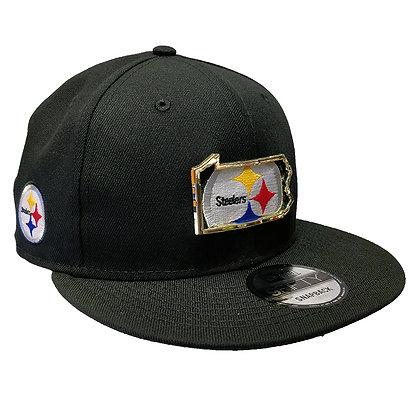 Men's Pittsburgh Steelers New Era State Metal Framed 9FIFTY Black Snapback