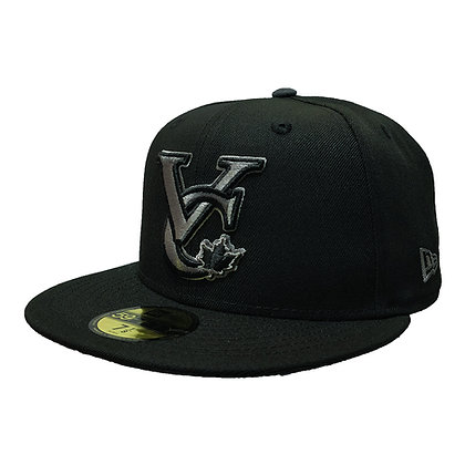Men's Vancouver Canadians New Era VC Logo Grey on Black 59FIFTY Fitted Hat