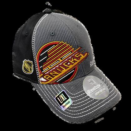 Men's Vancouver Canucks Grey Reebok Front/Back Skate Logo Flex Hat