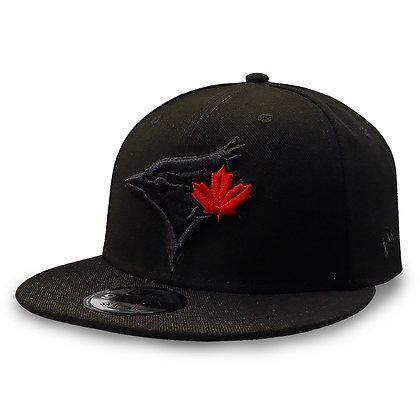 Men's Toronto Blue Jays New Era Black on Black Red Leaf 9FIFTY Snapback Hat