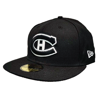 Montreal Canadiens Custom White on Black 59fifty fitted hat