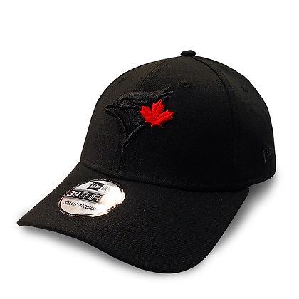 Men's Toronto Blue Jays New Era Black on Black Red Leaf 39THIRTY Flex Hat